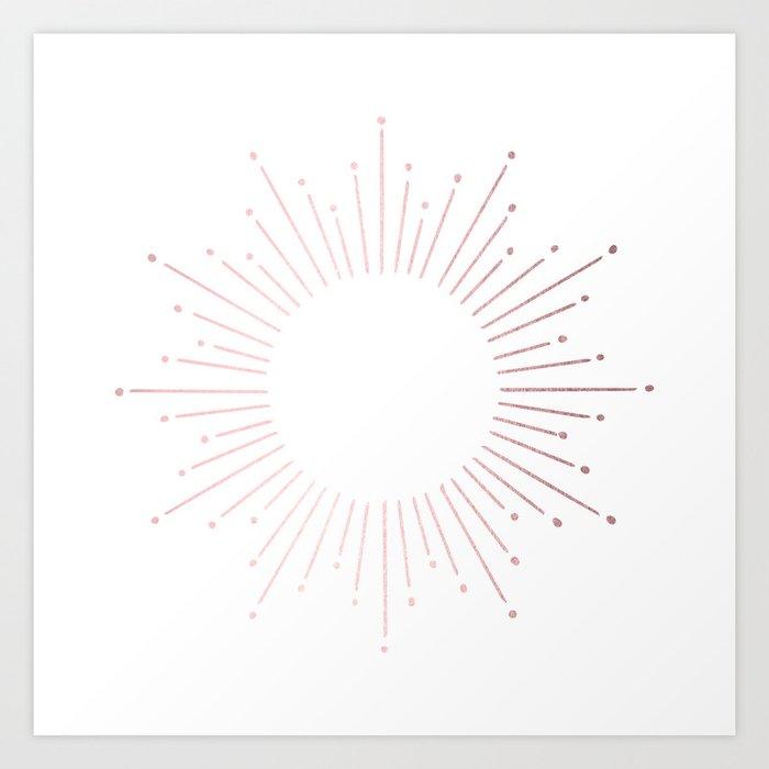 Sunburst Rose Quartz Elegance on White Kunstdrucke