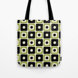 Mid Century Modern Square Dot Pattern 771 Black and Chartreuse Tote Bag