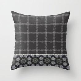 Wavy Plaid Pattern Black and Grey Mandala Tile Throw Pillow