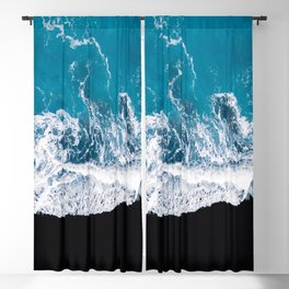 Black sand beach with waves and blue Ocean in Iceland – Minimal Photography Blackout Curtain