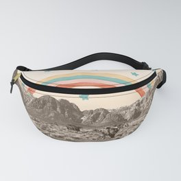Canyon Desert Rainbow // Sierra Nevada Cactus Mountain Range Whimsical Painted Happy Stars Fanny Pack