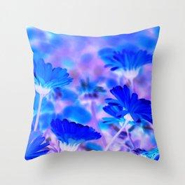Blue Marigold Gypsy Boho Fantasy Garden Throw Pillow