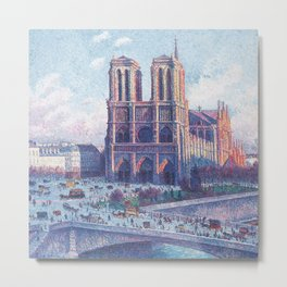 Notre Dame Cathedral, Paris, France Masterpiece by Maximilian Luce Metal Print