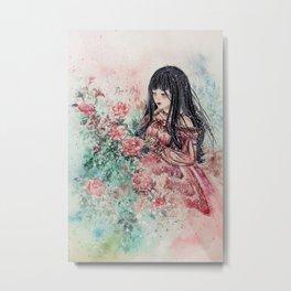 Rose Girl (Watercolor) Metal Print