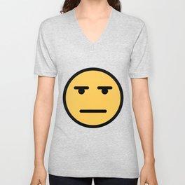 Smiley Face   Whatever Annoyed Looing Face Unisex V-Neck