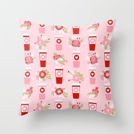 Coffee valentines day florals cute coffee lovers gifts that say i love you Throw Pillow