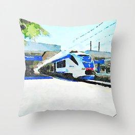 Pescara railway station: train stopped at the station Throw Pillow