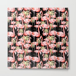 Pattern of flamingos among golden palm trees I Metal Print