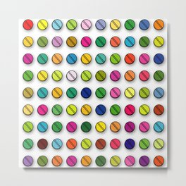 Colorful Pills Pattern Cool Modern Art Graphic Illustration Metal Print