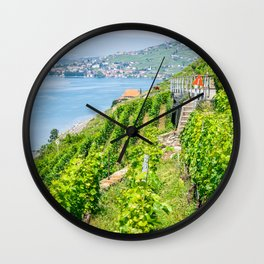 Lavaux terraced vineyards Wall Clock