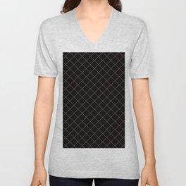 Pantone Red Pear Thin Line Stripe Grid (Pinstripe Pattern) on Black Unisex V-Neck