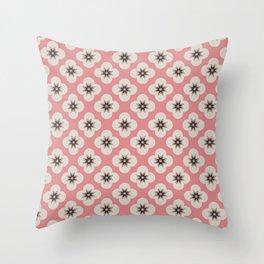Starburst Floral, Scandinavian Pink background Throw Pillow