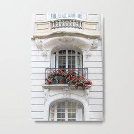 Parisian Balcony with Geraniums Metal Print
