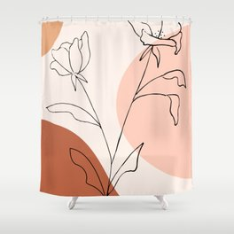 Poppies line drawing Shower Curtain