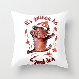 Happy Guinea Pig Throw Pillow
