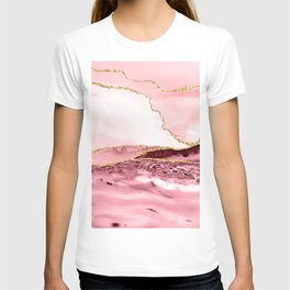 Pink And Gold Marble Waves T-shirt