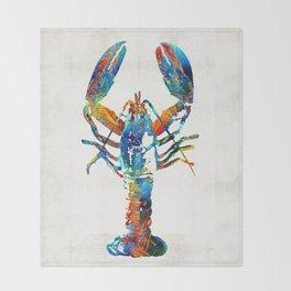 Colorful Lobster Art by Sharon Cummings Throw Blanket