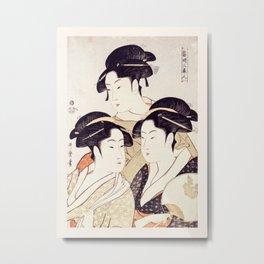 Three Beauties of the Present Day - Japanese Woodblock Print Metal Print