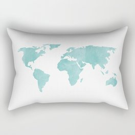 World Map - Teal Turquoise Watercolor on White Rectangular Pillow