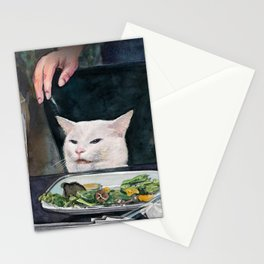 Woman Yelling at Cat Meme-2 Stationery Cards
