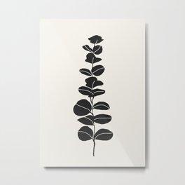 Minimal Eucalyptus Line Art Metal Print