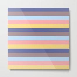 Pastel Retro Stripes Metal Print