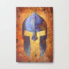 Blue Spartan Helmet On Rust Background - Molon Labe Metal Print