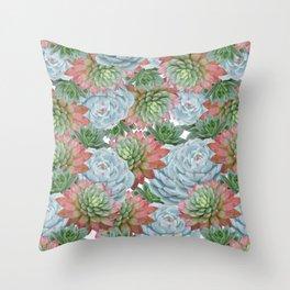 Succulents Pattern #2 #GreenVibes #decor #art #society6 Throw Pillow