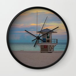 Clearwater Beach Lifeguard Hut Sunrise Square Print Wall Clock