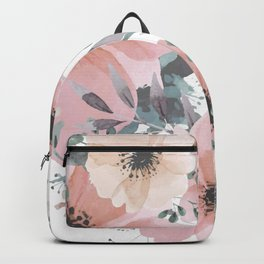 Abstract Watercolor, Blush Pink and Peach, Floral Watercolor Print Backpack
