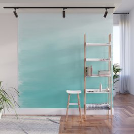 Modern teal watercolor gradient ombre brushstrokes pattern Wall Mural