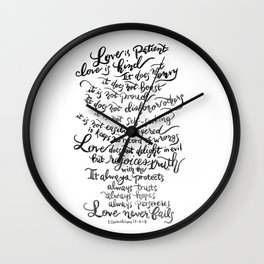 Love is Patient, Love is Kind -1 Corinthians 13:4-8 Wall Clock