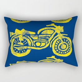 Motorcycles Linocut Yellow Gold Navy Blue Rectangular Pillow