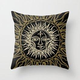Sun Moon Face Throw Pillow