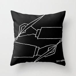 Saul Steinberg - Drawing Hands After Escher, from The Passport - American Cartoonist Artwork Reprodu Throw Pillow