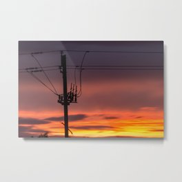 Fire and Wire Metal Print