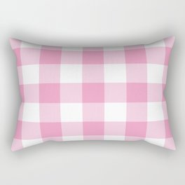Light Pink Gingham Pattern Rectangular Pillow