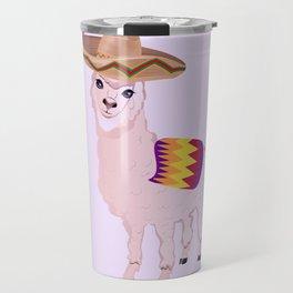 Cartoon Alpaca in Sombrero Travel Mug