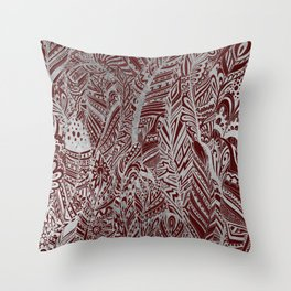 Elegant silver foil burgundy bohemian aztec feathers Throw Pillow