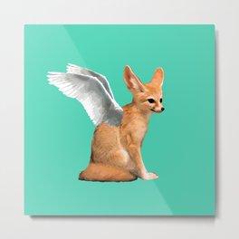 Winged Fennec Fox Metal Print