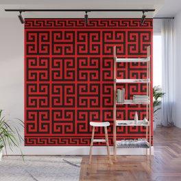 Greek Key (Red & Black Pattern) Wall Mural