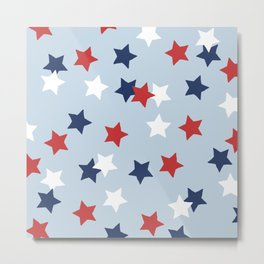 Little 4th of July stars American national holiday celebration pattern blue Metal Print