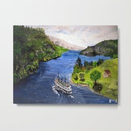 River Boat Journey Metal Print