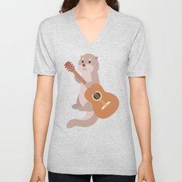 Otter Musician Guitar Guitarist Unisex V-Neck
