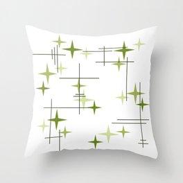 Mid Century Modern Stars Chartreuse Green Throw Pillow