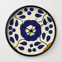 Talavera Mexican tile inspired bold design in blue and yellow Wall Clock