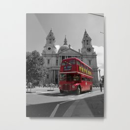 London Bus at St. Paul's Cathedral Metal Print
