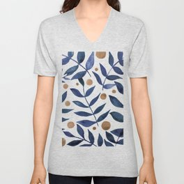 Watercolor berries and branches - indigo and beige Unisex V-Neck