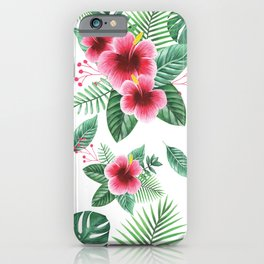 Hibiscus Flower Tropical Pattern iPhone Case