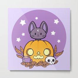 Pumpkin Cats Son Metal Print